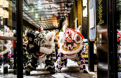 Chinese New Year celebrations featuring Lion dancers at Duck & Rice, Westfield Sydney