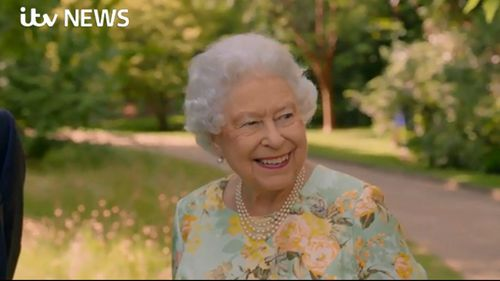 The Queen showed off her humour and lighter side during the interview. (ITV/Supplied)