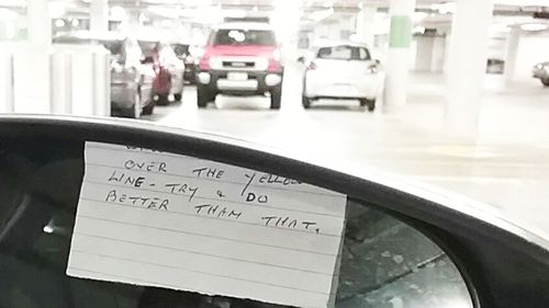 Elderly Queensland woman leaves cranky note after she hits car