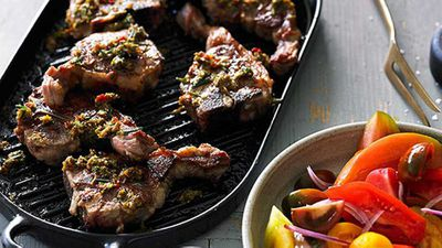 "Recipe: <a href=""http://kitchen.nine.com.au/2016/05/05/14/08/chargrilled-lamb-loin-chops-with-pounded-anchovy-and-rosemary-dressing"" target=""_top"" draggable=""false"">Chargrilled lamb loin chops with pounded anchovy and rosemary dressing</a>"
