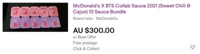 BTS McDonald's Sweet Chilli and Cajun sauce