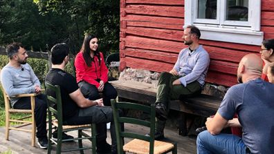 At Øvresaga, the Crown Prince met three who have experienced what it is like to be a refugee today.