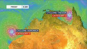 News weather Australia Tropical Cyclone Trevor Veronica Western Australia Northern Territory Queensland warnings BoM