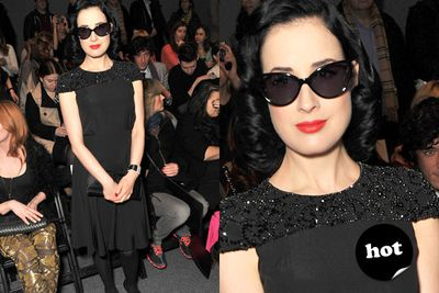 Massive black glasses? Check. Glamorous gown? Check. Dita Von Teese? Winner.