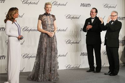 Our Cate (in Valentino) presented an award for young actors at a star-studded event sponsored by jewellery makers Chopard...