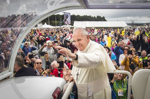 Pope Francis arrives to attend the closing Mass at the World Meeting of Families at Phoenix Park in Dublin, as part of his visit to Ireland