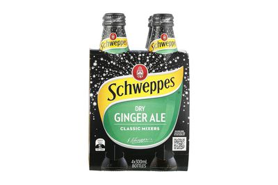Schweppes Dry Ginger Ale: 7.6g sugar per 100ml