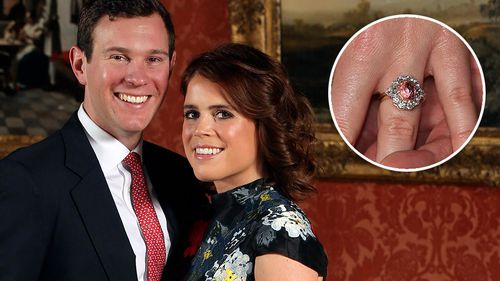 Princess Eugenie and Jack Brooksbank in the Picture Gallery at Buckingham Palace in London after they announced their engagement in January. (AAP)