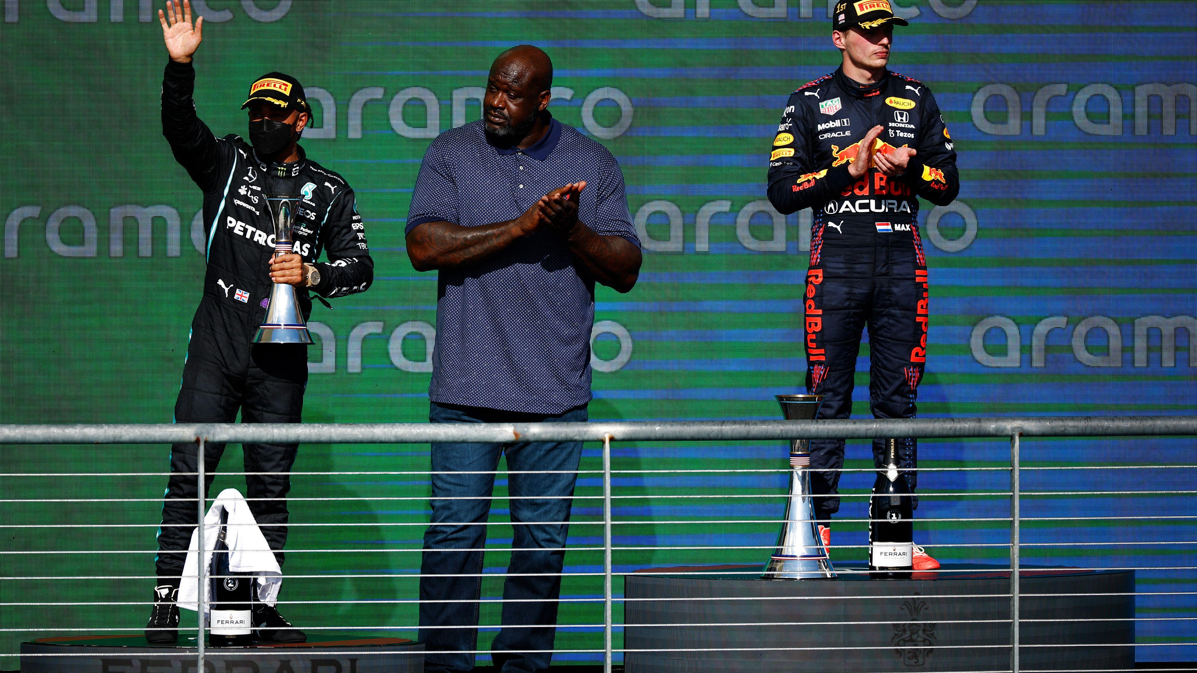 NBA legend hijacks 'awkward' F1 podium