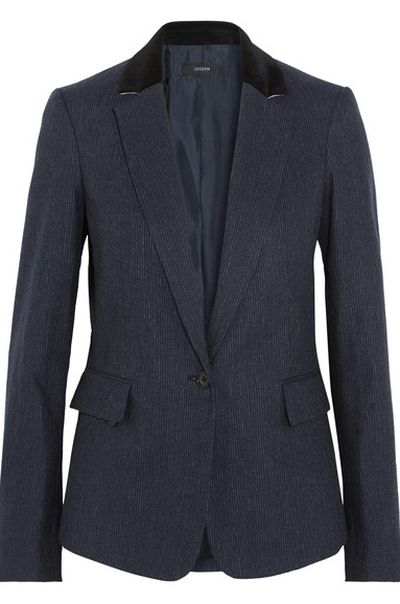 "Joseph striped blazer, approx. $797 at <a href=""https://www.net-a-porter.com/au/en/product/908484/Joseph/prisca-pinstriped-wool-blend-blazer"" target=""_blank"">Net-a-porter</a><br />"