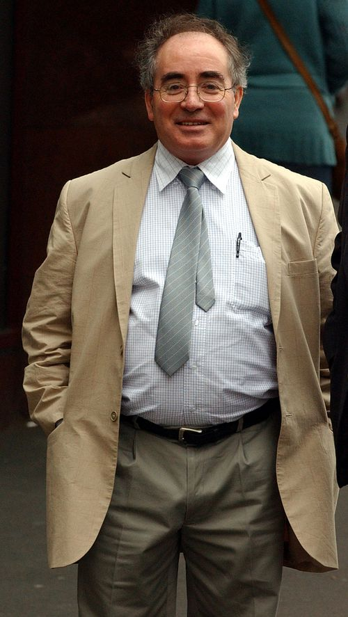 """William Kamm, the 55 year old self-styled religious leader also known as """"The Little Pebble"""" arriving at the NSW District Court in 2005 for sentencing. Picture: AAP"""