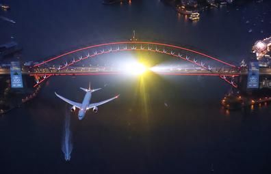 Qantas centenary flyover Sydney Harbour Bridge