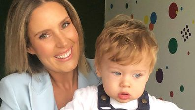 Elle Halliwell and her son Tor.
