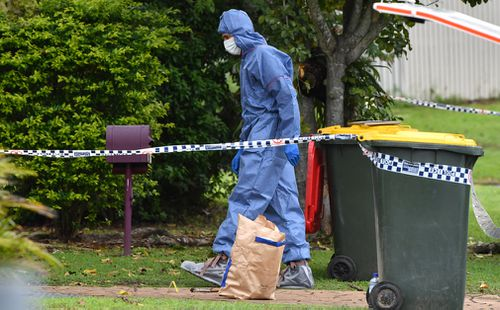 Forensic crews at the home today. (AAP)