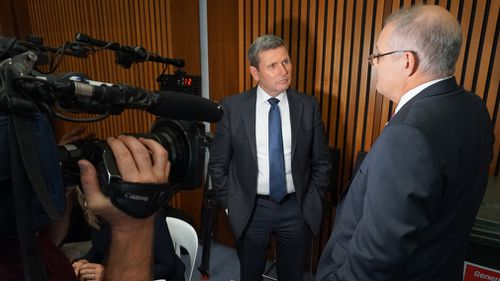 Chris Uhlmann and Scott Morrison in the Budget lock-up today. (Picture: Tim Jessop, 9NEWS)
