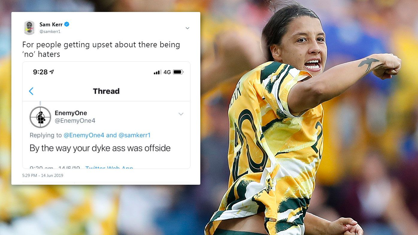Matildas captain Sam Kerr hits back at 'haters' spray criticism