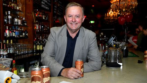 Anthony Albanese drinks his namesake beer at a bar in Marrickville.