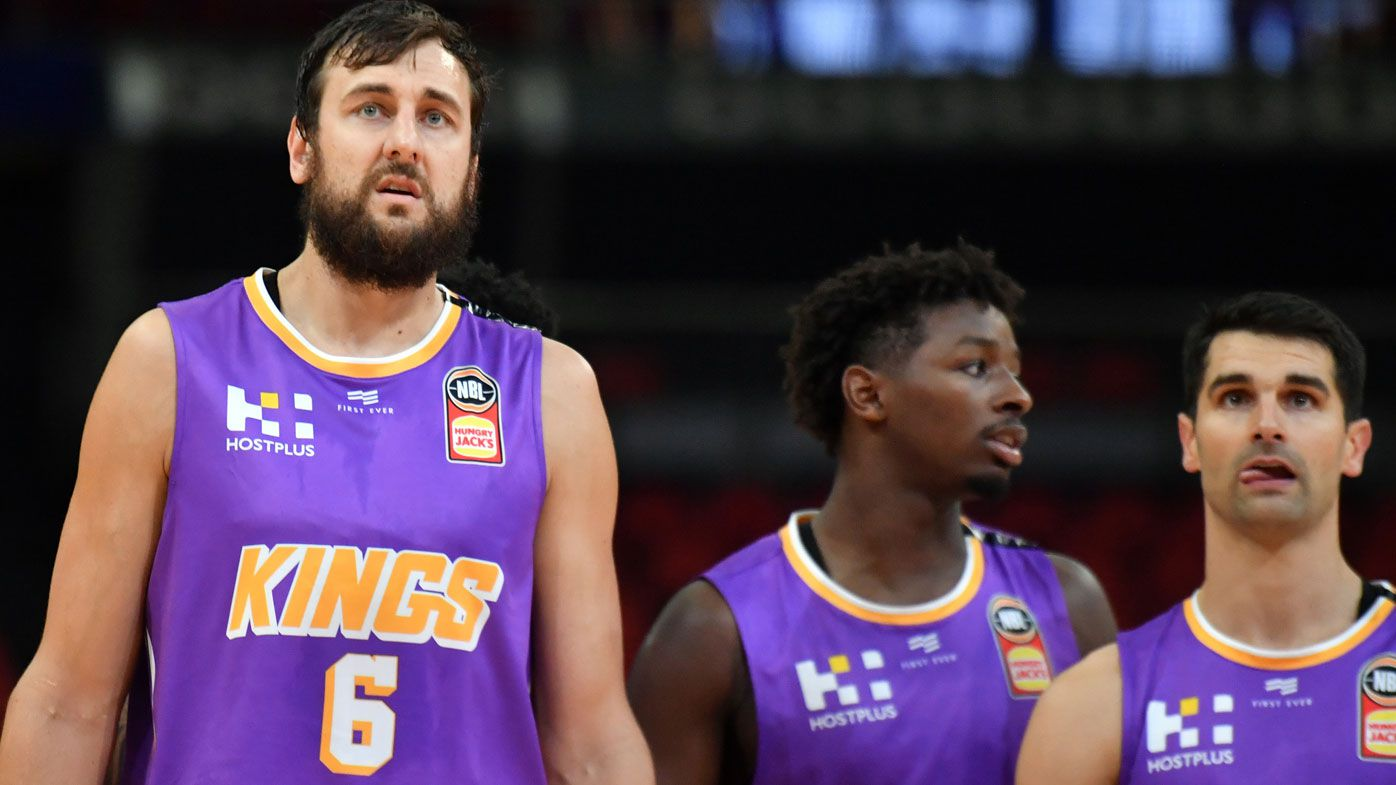 Kings Andrew Bogut, Jae'sean Tate and Kevin Lisch