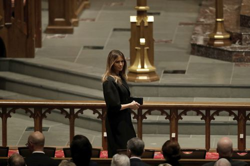 Melania Trump attended the funeral in place of President Donald Trump. (AAP)