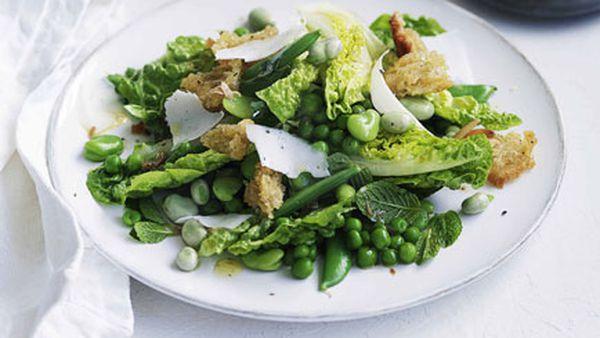 Pea, broad bean and torn bread salad