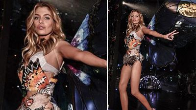 Angel Stella Maxwell wearing a design created for the 'exotic butterflies' part of the show. (Instagram)