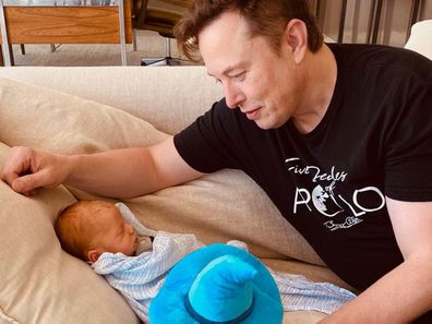 Elon Musk and son with Grimes