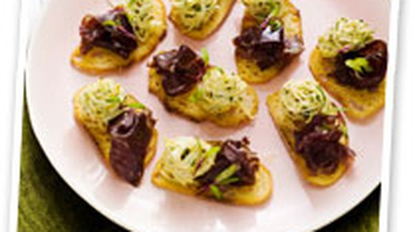 Crostini of roast beef with celeriac remoulade