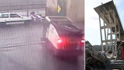 Moment Genoa bridge collapsed caught on CCTV
