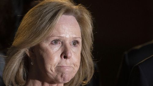 Marcia Mueller, mother of slain aid worker Kala Mueller, addressed the media after a hearing for Alexanda Anon Kotey.