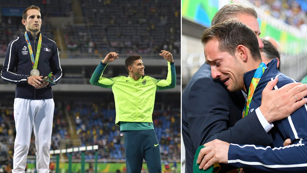 Renaud Lavillenie and Thiago Braz da Silva on the podium (left), and Lavillenie in tears (right). (AFP)