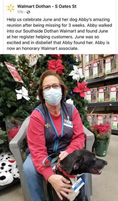 Walmart worker Ms June with missing dog Abby
