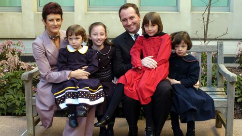 Senator Barnaby Joyce with his family at Parliament House, August 2005. L to R: Wife Natalie and daughters Odette 2, Brigette 9, Julia 7 and Caroline 5 (AAP).