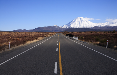 Driving up Desert Road, with majestic Mount Ngauruhoe in view.