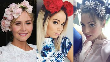 Wonderland's Anna Bamford, Tully Smith and Natalie Bikicki in various interesting pieces of headwear. (Getty/Instagram)