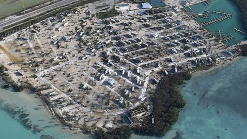 Overturned trailer homes are shown in the aftermath of Hurricane Irma. (AP)
