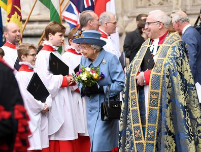 Queen Elizabeth leaves Westminster Abbey following Commonwealth Day service in 2020.