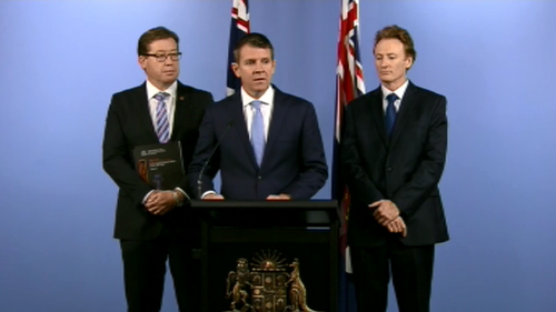 NSW Premier Mike Baird and Deputy Premier Troy Grant (left) reveal the findings of the Special Commission of Inquiry report this afternoon. (9NEWS)