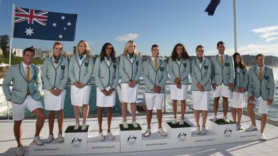 """At the opening ceremony, all Australian athletes will wear <a href=""""http://www.9news.com.au/national/2016/03/30/08/58/green-and-white-australian-olympic-uniforms-unveiled"""">green and white striped blazers </a>with white bottoms."""