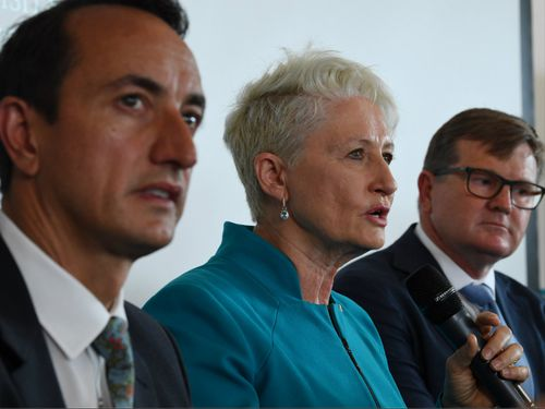 Dr Phelps (centre) with Liberal candidate Dave Sharma and Labor's Tim Murray.