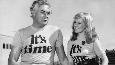 The infamous It's Time campaign. Whitlam pictured with singer Little Pattie. (Getty Images)