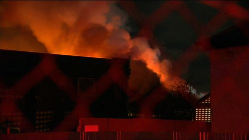 Firefighters contained a fierce house fire in an Adelaide suburb in the early hours of this morning. Picture: 9NEWS.