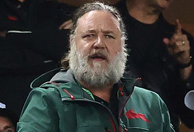 Russell Crowe at South Sydney Rabbitohs match (Getty)
