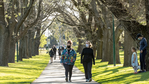 People enjoy exercise in the afternoon sun at Princes Park in Carlton on September 27, 2020 in Melbourne, Australia.