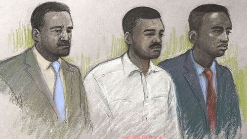 Court artist sketch by Elizabeth Cook of (left to right) Merse Dikanda, Jonathan Okigbo, and George Koh. (Photo: AAP)