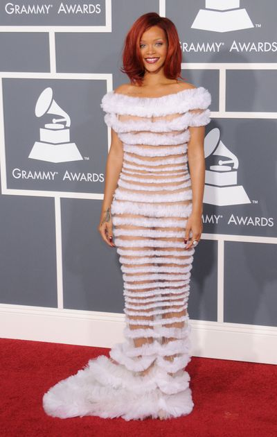 Rihanna in Jean Paul Gaultier at the 2011 Grammy Awards in Los Angeles