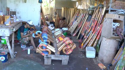 60 Minutes has gone undercover in the back blocks of Bali, the unlikely epicentre of the booming production line of fake Aboriginal artefacts. Picture: 60 Minutes