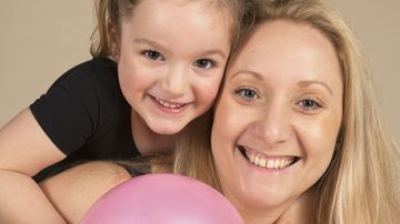 High school teacher and lipoedema sufferer Cassie, pictured with her daughter Eleanor.
