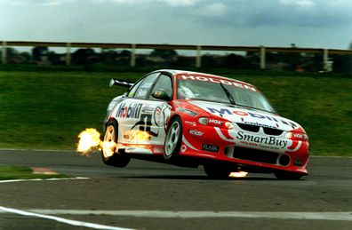 Craig Lowndes and Mark Skaife in the Mobil Holden Racing Team Commodore VT in action during qualifying for Sunday's Tickford 500 at Sandown. Loundes qualified 2nd fastest next to his team mate Greg Murphy.