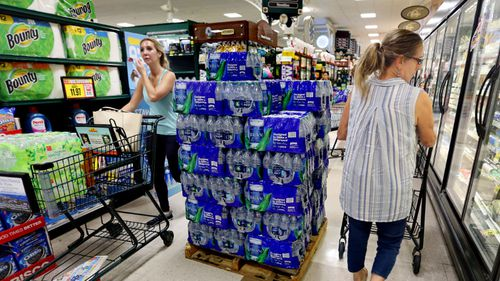 Residents in the Carolinas have begun stockpiling essential supplies ahead of Hurricane Florence making landfall.