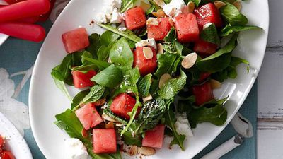 "Click through for our cooling <a href=""http://kitchen.nine.com.au/2016/05/16/13/42/watermelon-salad"" target=""_top"">watermelon salad</a> recipe"